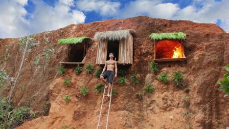 柬埔寨小哥买不起房,在挖空山崖上的泥土,在里面造小别墅!