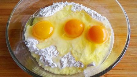 我家面粉从不蒸馒头,加3个鸡蛋,不用水不用油,上桌瞬间被扫光