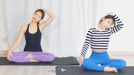 白领如何缓解肩颈酸痛,这组拉伸动作简单管用,做完真舒服