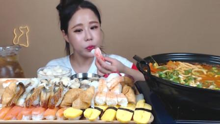 大胃王美食吃播,韩国美女吃寿司拼盘和泡菜汤