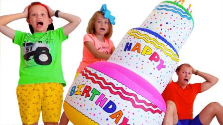 真棒!萌宝小萝莉跟小正太制作的生日蛋糕为何这么大?趣味玩具故事