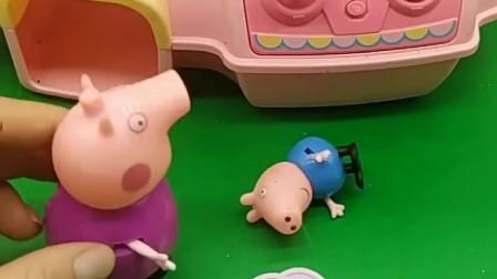 乔治嚷嚷的想吃巧克力豆,猪奶奶帮助乔治抓糖豆,都没抓起来可怎么办?