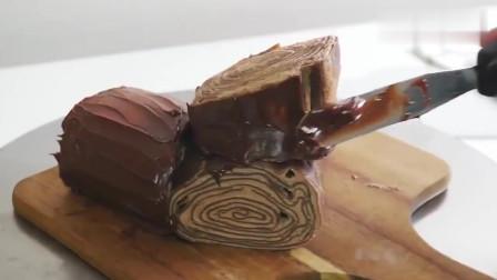 """巧克力千层""""树桩""""蛋糕,切一块口水都流下来了!"""