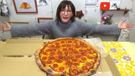【木下大胃王】超大意大利辣味香肠比萨!虽然好吃但当披萨边变硬的时候…【191219】