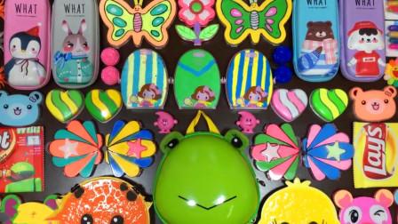 手工无硼砂史莱姆教程,彩虹黏土+蝴蝶彩泥+文具盒彩泥+亮彩饰品,超漂亮