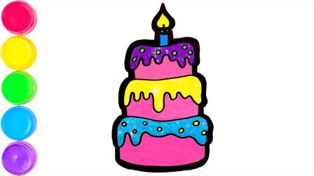 小星星简笔画:三层生日蛋糕简笔画