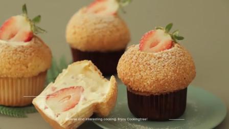 草莓奶油曲奇泡芙,酥脆外壳一口咬下去,超满足