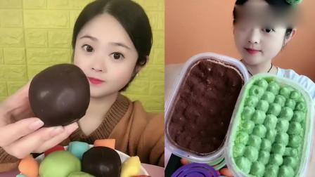 小姐姐吃播:脆皮雪媚娘、蛋糕盒子,变着形状吃糖果,好有趣