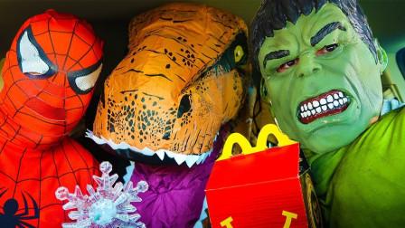 蜘蛛侠和绿巨人开车去买汉堡包!