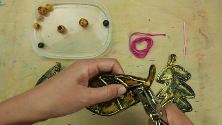 儿童手工分享:仿金属叶子项链