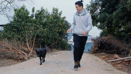 农村娃遛狗,不料反被土狗牵着跑,这一幕太搞笑了