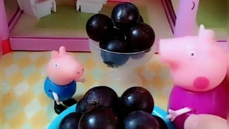 乔治想吃糖葫芦,奶奶拿葡萄裹上糖和巧克力酱,别提多好吃了