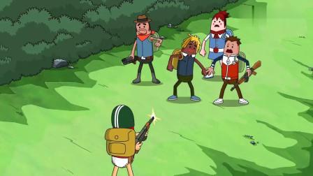 搞笑吃雞動畫霸哥四人從p城殺出來十分膨脹結果遇到了外掛玩家