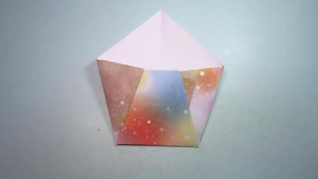 手工折纸,超简单纸盒的折法,一张纸一分钟就能学会