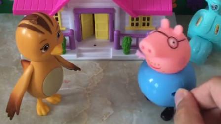 猪爸爸来冒充小朋友,来和鸡妈妈领糖吃,鸡妈妈只给小朋友吃