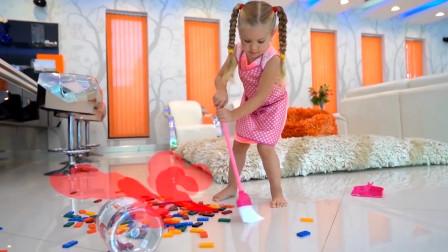 咋回事?萌宝小萝莉刚打扫好的地上为何又乱了?趣味玩具故事