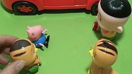乔治和大头都说自己爸爸买了车,但是车不是他们家的,是萌鸡小队的车