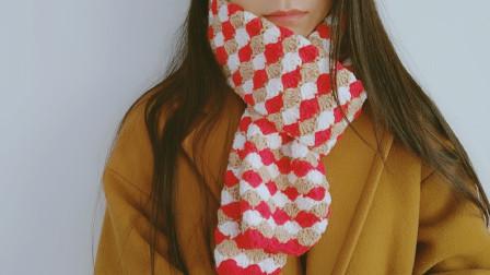 钩针围巾有些颜色看着一般拼接起来就倾国倾城毛线编织图案