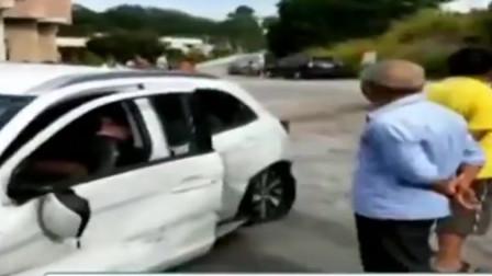 女司机驾车从高速飞落村道 堪比动作电影 行车记录仪拍下全过程