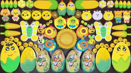 玉米太阳花等材料泥,加上各色的彩蛋,制成的无硼沙泥来捏很治愈哦