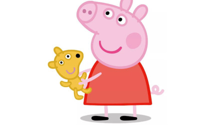 抱着布娃娃的小猪佩奇简笔画