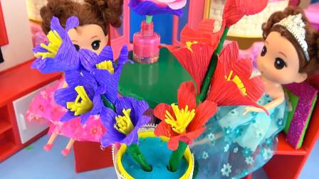 亮亮玩具芭比娃娃手工制作花盆玩具教程,婴幼儿宝宝过家家游戏视频