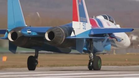 俄罗斯苏35战机展示矢量发动机,强劲的空中机动短距起飞能力