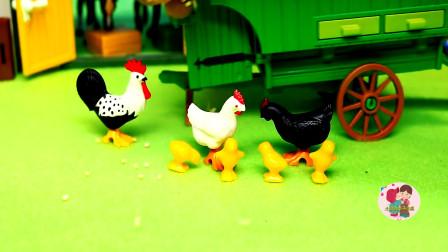 少儿益智游戏,趣味食玩,农场绿色小拖车运来饲料喂花公鸡黑母鸡白母鸡,儿童玩具亲子互动