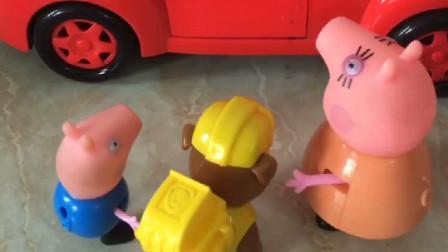小砾生病了,猪妈妈看见奥特曼要开车走,让奥特曼把他们的送回家