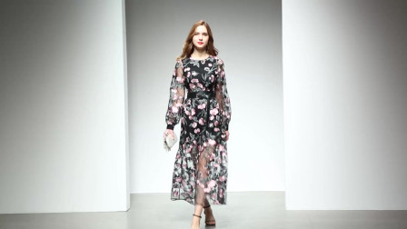 2020春装新款欧美时尚气质优雅复古风重工绣花收腰大摆网纱连衣裙