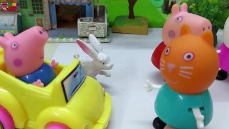 《小猪佩奇》小故事,乔治发现一只可爱的小兔子,佩奇姐姐快过来!