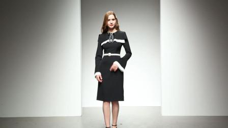 2020春装新款 欧美时尚气质撞色拼接压褶收腰A摆黑色中长款连衣裙
