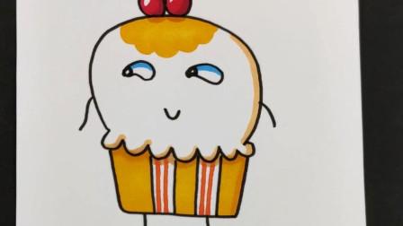 超萌卡通手账简笔画,画一个超可爱的纸杯蛋糕