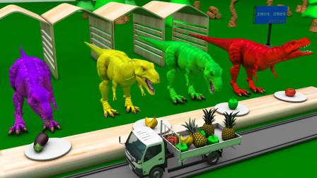 热心的卡车司机带来很多果蔬给恐龙吃
