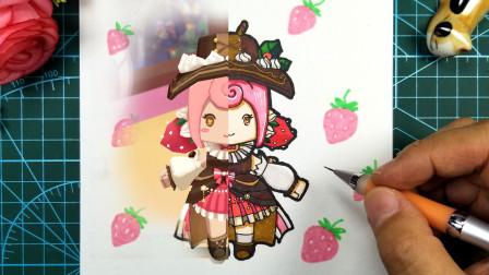 迷你世界中的蛋糕少女?你觉得她可爱么?手绘慕斯卡通手工明信片