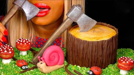 小姐姐吃蘑菇、蜗牛、昆虫和树桩造型的蛋糕,和一把巧克力做的斧头,真是创意无限