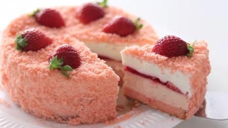 第一眼就被这款粉粉的草莓蛋糕吸引!咬一口能吃出4种口味,诱人
