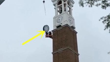 两名男子正在维护钟楼,突然悲剧发生了,场面万分惊险