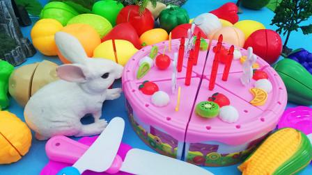 媛媛识果蔬 帮助小兔子做一个大大的水果蛋糕