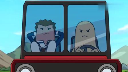 搞笑吃雞動畫瓦特上了敵人的車敵人帶他飆車結果倆人都成了盒