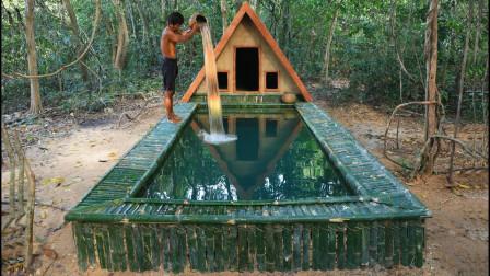 原始技术,小哥野外建造泥巴小屋,还配了个标准的游泳池