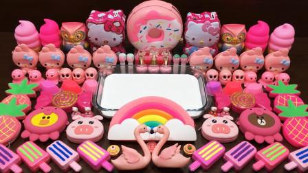 甜筒+甜甜圈+雪糕+猫头鹰+KT猫等材料来玩史莱姆,过程有趣减压