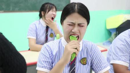 学霸王小九短剧老师给学生每人一根苦瓜全班都吃不下没想女同学1根却不够吃