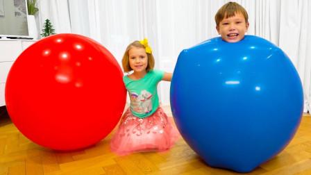 好神奇!萌宝小正太是如何躲在气球里面的?趣味玩具故事