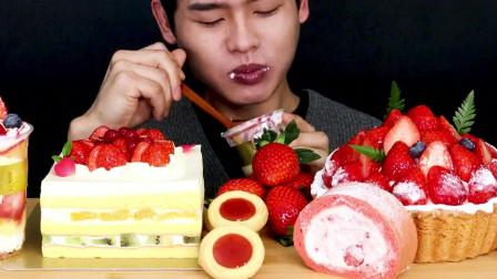 韩国吃播欧巴,各种的奶油小蛋糕,吃多两口就腻了