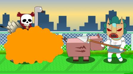 迷你世界格斗动画第207集:野人的宠物猪放屁能把野萌宝熏晕吗