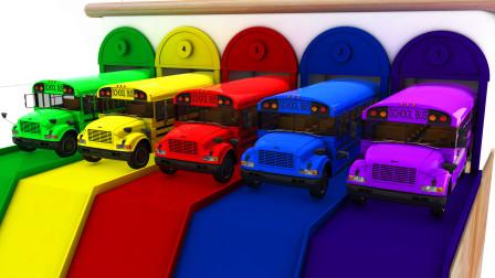 七彩赛道上的巴士先生 掉进颜料池后都变了颜色