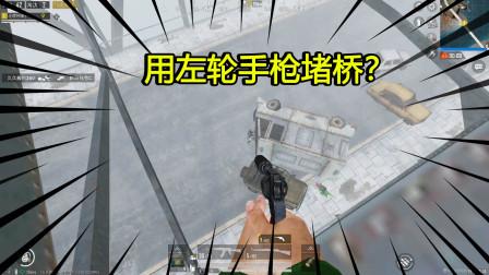 和平精英:挑战机动兵用左轮堵桥,敌人直接气哭了,真刺激!