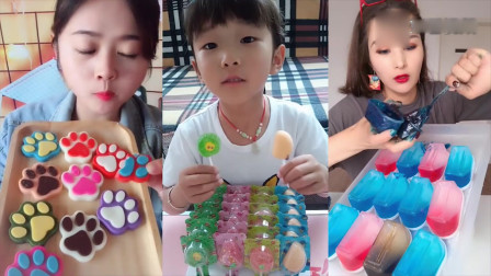 小姐姐吃播:彩色猫爪巧克力、迷你棒棒糖,看着就想吃