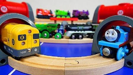 托马斯木制地铁隧道玩具DIY组装,托马斯和他的朋友们
